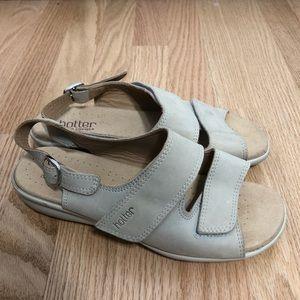 Hotter Cream Leather Adjustable Strap Sandals Sz 8